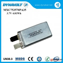 High performance 35C discharge rate rechargeable Li-polymer battery 3.7V 1300mAh for UAV