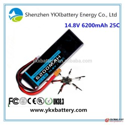 High discharge 14.8V 6200mAh 25C lipo battery packs for RC helicopter