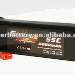 45C 5000mAh C-rating lithium polymer battery packs for models flight