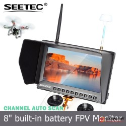"8"" wireless audio video transmitter receiver lcd monitor high resolution DC output drone he"
