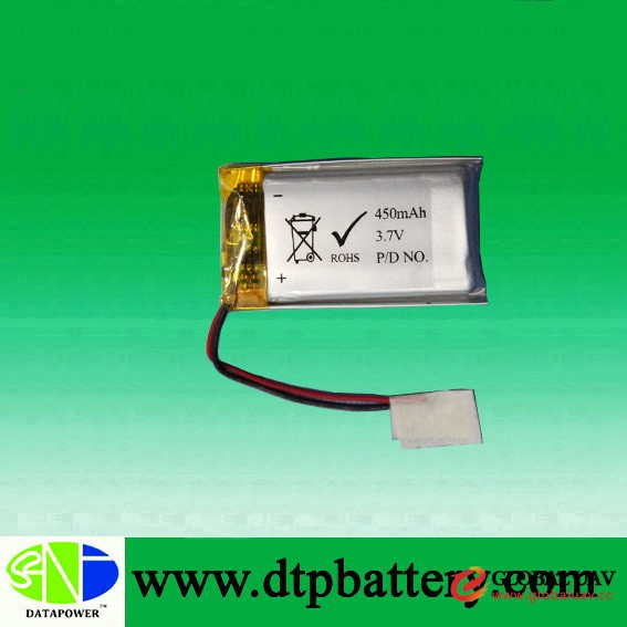 High quality rechargeable 3.7v 450mah li-polymer battery lipo battery for sexual toys,GPS tracker,uav
