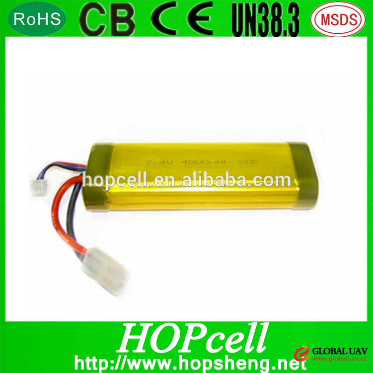 7.4V High Nominal Capacity 4000mAh high discharge rate li-po battery pack for UAV Model aircraft