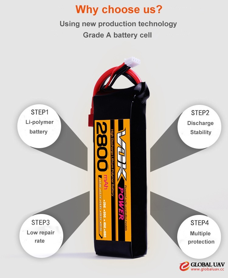 11.1V 3S 2800mAh 20C Cheap Aerial Dro<em></em>nes &amp; UAVS RC Lipo Battery Pack
